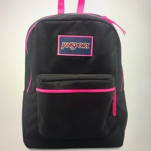💗AUTHENTIC JANSPORT BLACK AND NEON PINK BACKPACK